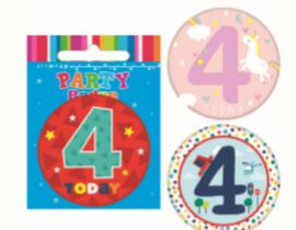 Badge Medium 4th Birthday Assorted Styles