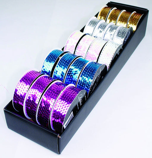 RIBBON ROLL SEQUIN ASST