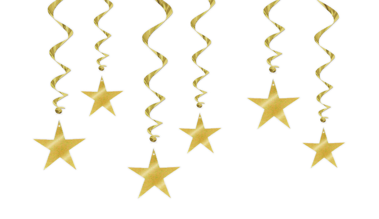 HANGING DECORATIONS 6 PACK GOLD STARS
