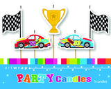 CANDLE 5 PACK - RACE CARS AND FLAGS