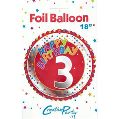 "18"" FOIL BALLOON 3RD BIRTHDAY RED & SILVER"