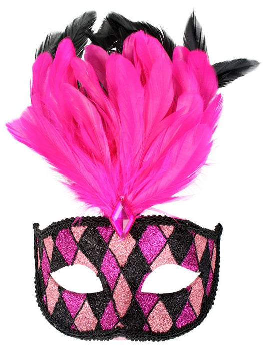 EYE MASK FRANCESCA - PINK AND BLACK WITH FEATHERS