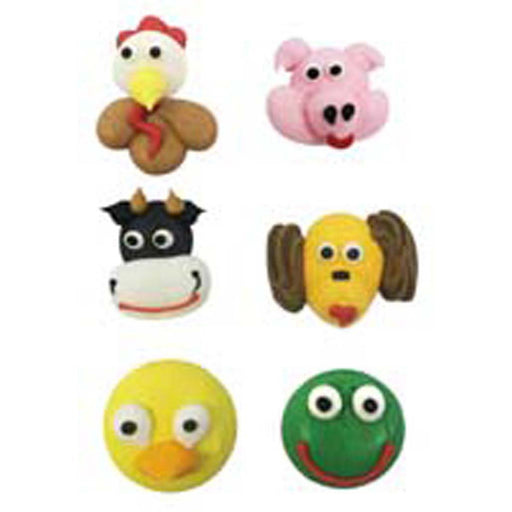 Large Farm Animal Face Set Of Six - Sugar Decorations