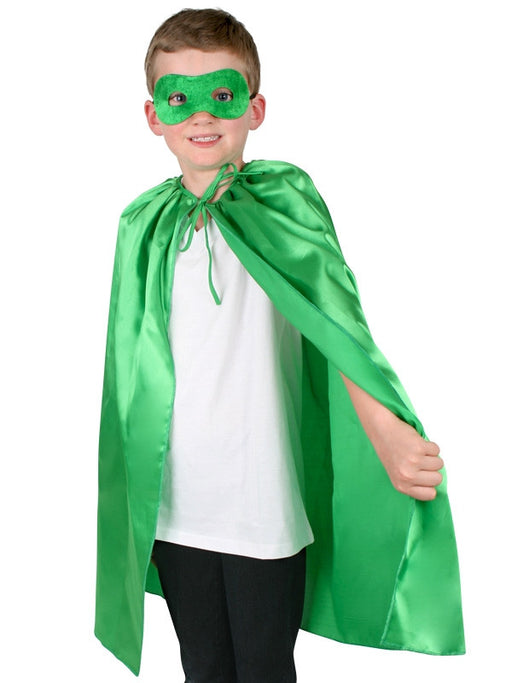 COSTUME SUPER HERO SATIN CAPE & EYE MASK CHILD GREEN