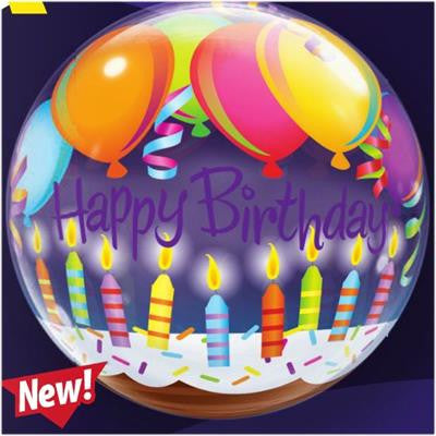 Birthday Balloons And Candles Bubble Balloon 55cm