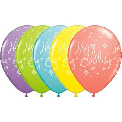 Qualatex Balloons Sparkles and Swirls Happy Birthday Sorbet colours 28cm