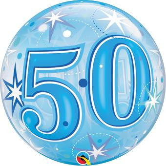50th Blue Starburst Sparkle Bubble Balloon 55cm