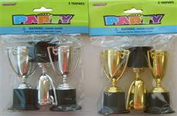 3 PACK OF TROPHIES SILVER/GOLD