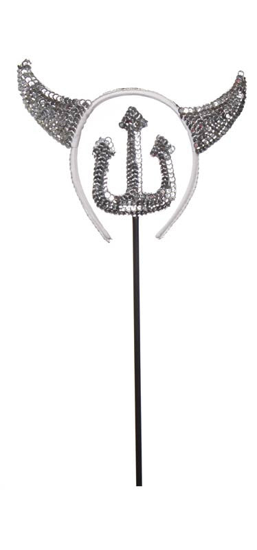 DEVIL HEADBAND & FORK SILVER SEQUIN