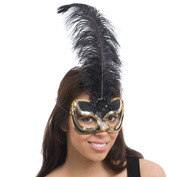 EYE MASK MIMI BLACK WITH GOLD & SILVER