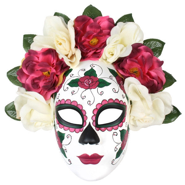 SUGAR SKULL MASK - PINK AND CREAM FLOWERS