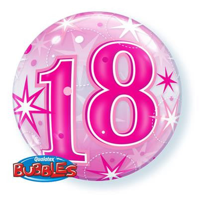 "18 Pink Starburst Sparkle Bubble Balloon 22""/55cm"