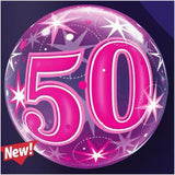 50TH STARBURST SPARKLE BUBBLE BALLOON 55cm