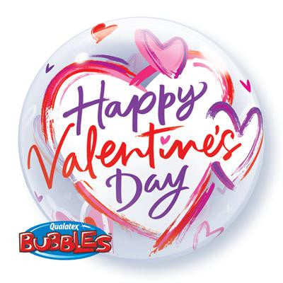 BUBBLE BALLOON VALENTINES BRUSHED HEARTS 55CM
