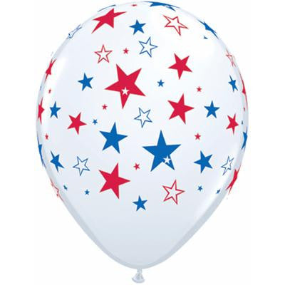 Qualatex Balloons Red and Blue Stars on White 28cm