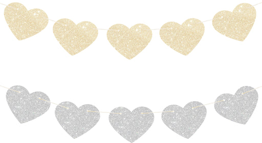 GOLD AND SILVER GLITTER HEART GARLAND