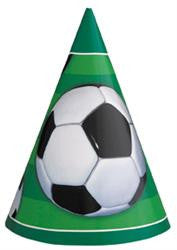 Soccer Party Hats - 8 Pack