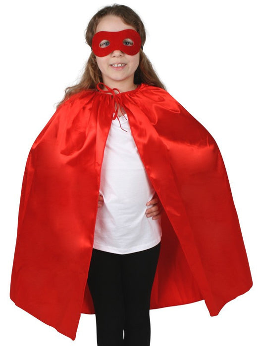 Costume Super Hero Satin Cape & Eye Mask Child Red
