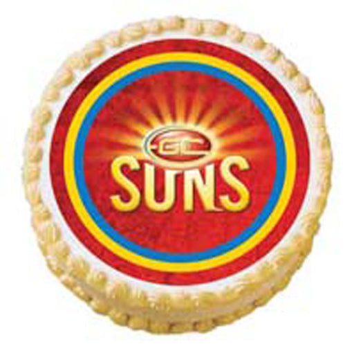 Afl Gold Coast Suns Round Edible Icing Image - 6.3 Inch / 16cm