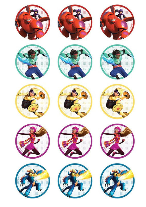Big Hero 6 2 Inch/5cm Cupcake Image Sheet - 15 Per Sheet