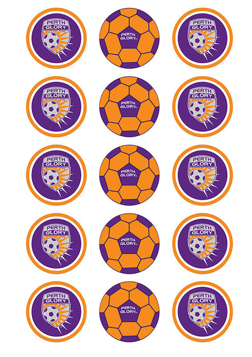 A-League Perth Glory Fc 2 Inch/5cm Cupcake Image Sheet - 15 Per Sheet