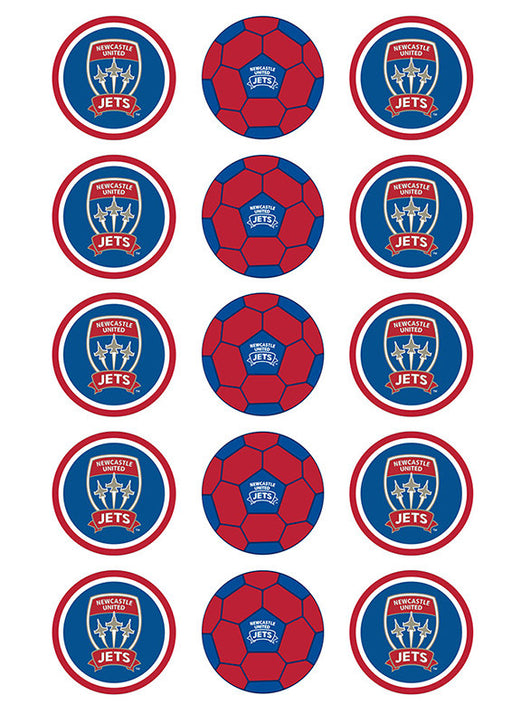 A-League Newcastle Jets Fc 2 Inch/5cm Cupcake Image Sheet - 15 Per Sheet