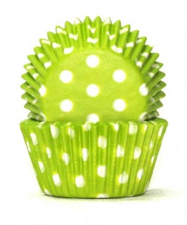 408 Baking Cups | Lime Green Polka Dots |100 Piece Pack