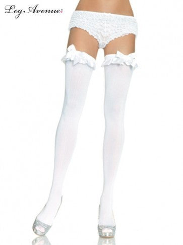 OPAQUE THIGH HIGHS WITH RUFFLE & BOW WHITE