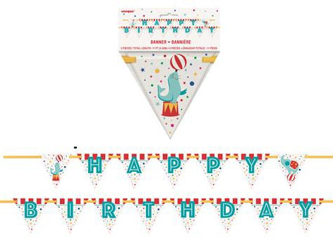 Circus Carnival Happy Birthday Flag Banner
