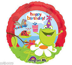 Hoppy Birthday Frogs And Bugs 18'' Foil Balloon