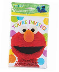 ELMO INVITATIONS- Pack of 8