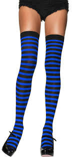 Leg Avenue Nylon Striped Thigh High Stockings Royal Blue/Black