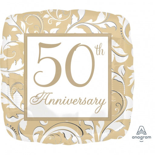 45cm Foil Balloon Gold 50th Anniversary