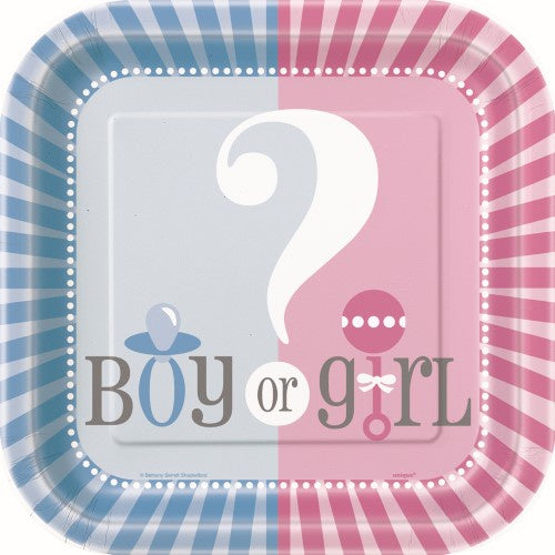 Baby Reveal 7 inch Square Paper Plates