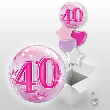 40th Pink Starburst Sparkle Bubble Balloon 22''/56cm