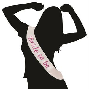 Flashing Bride to Be Sash White with Pink Text