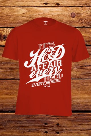 """Hood Affair Every Hood Everywhere"" T-shirt (Red)"