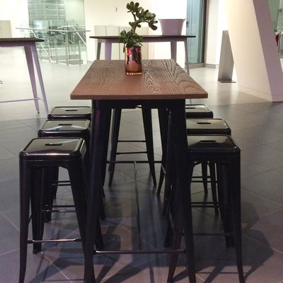 Industrial bar table with solid wood top 120 cm Z-02