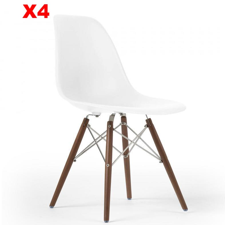 Set of 4  Dining Chair- Plastic- PC-016WP-W