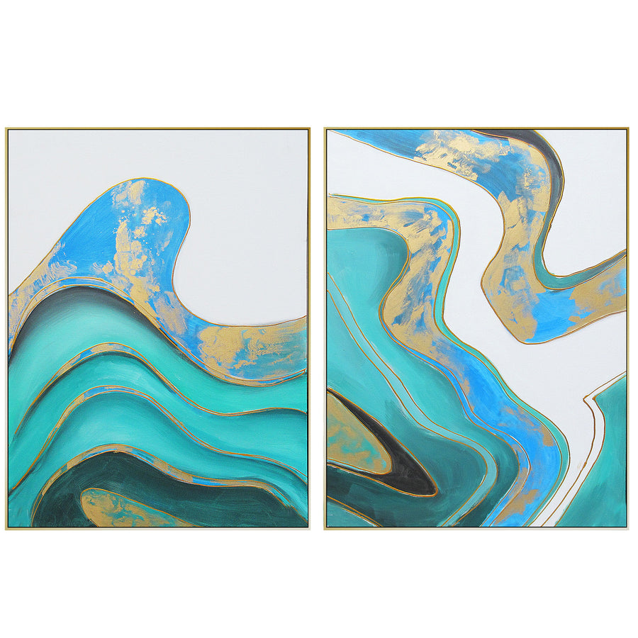 set of 2  Handpainted Art Painting with  frame SO898 180X130 SOAP0066