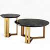 Set of 2  Natural marble side table  217-CT + 217-ST