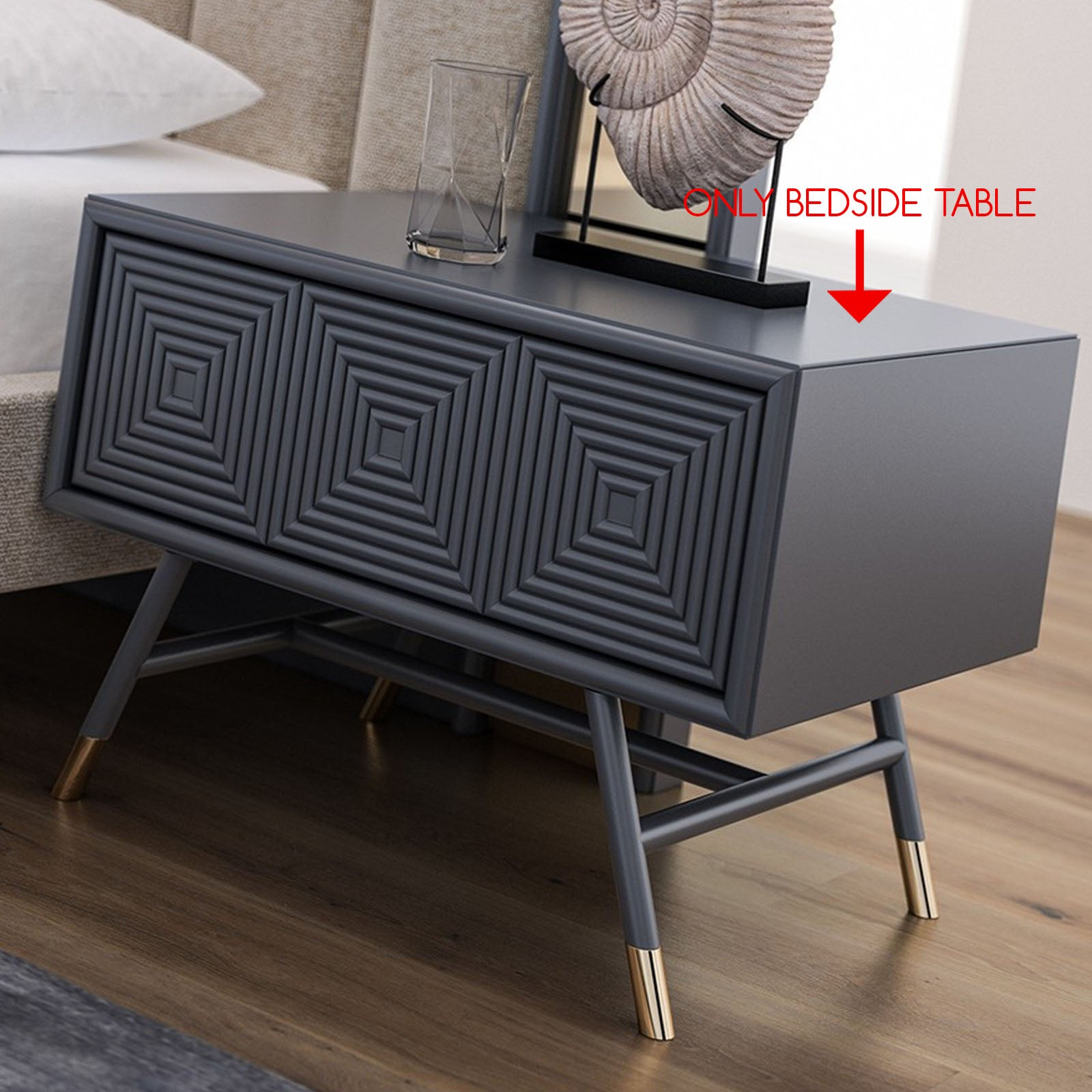 2x Vela BEDSIDE TABLE  Vela009-G-BEDSIDETABLE