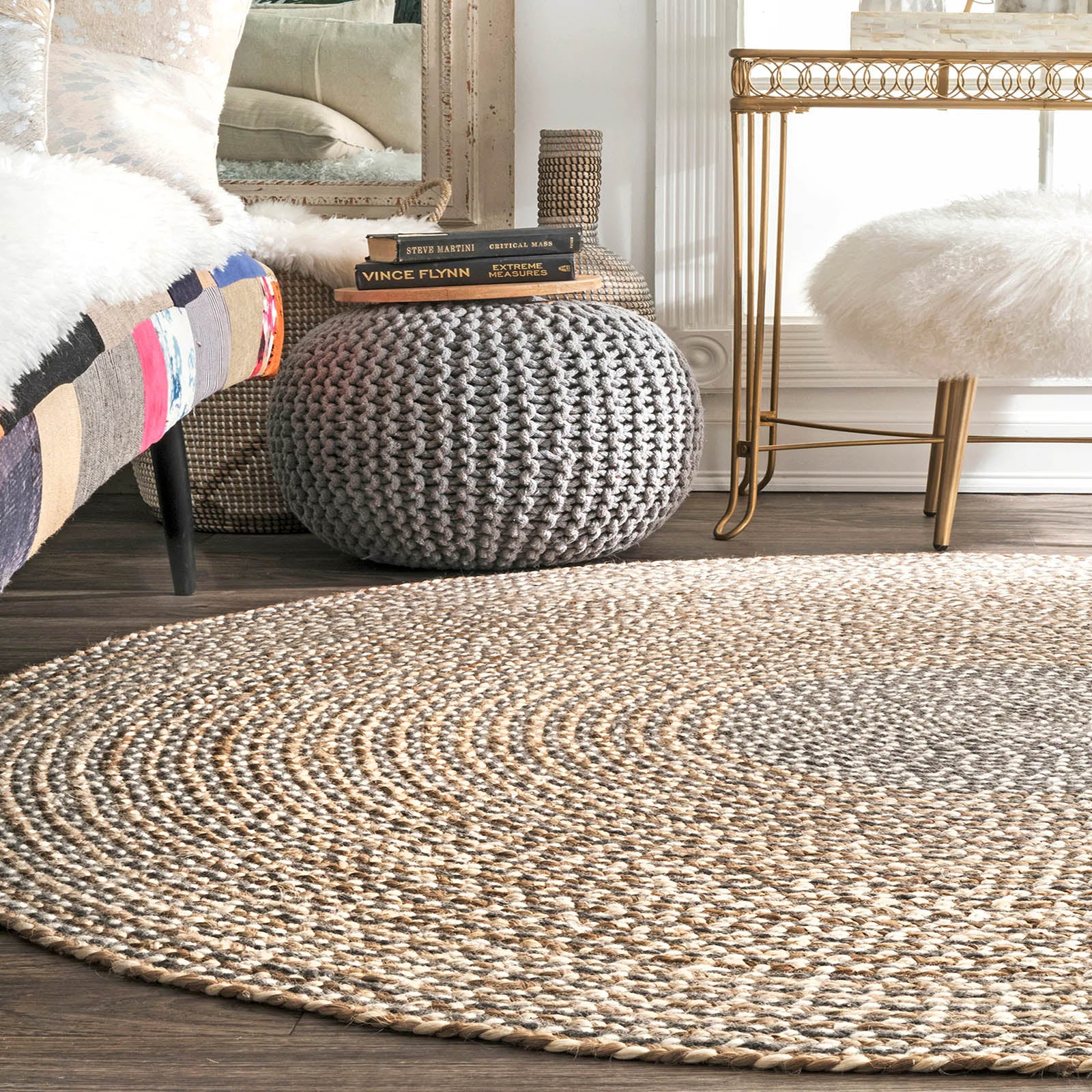 100 cm Braided Round handmade Wool Rug JH-2351-100 -  سجادة صوف دائرية مضفرة 100 سم - Shop Online Furniture and Home Decor Store in Dubai, UAE at ebarza