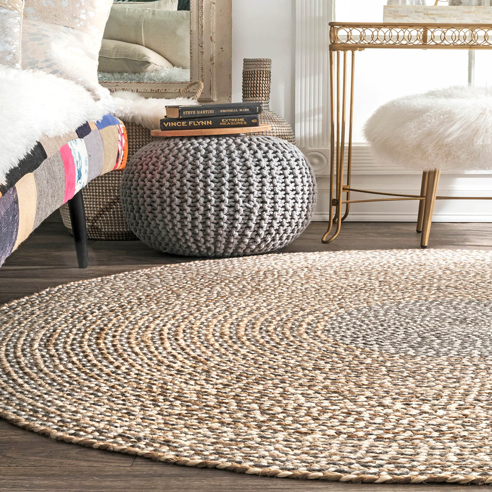 150cm Braided Round handmade Wool Rug JH-2351-L -  سجادة صوف دائرية مضفرة مقاس 150 سم - Shop Online Furniture and Home Decor Store in Dubai, UAE at ebarza