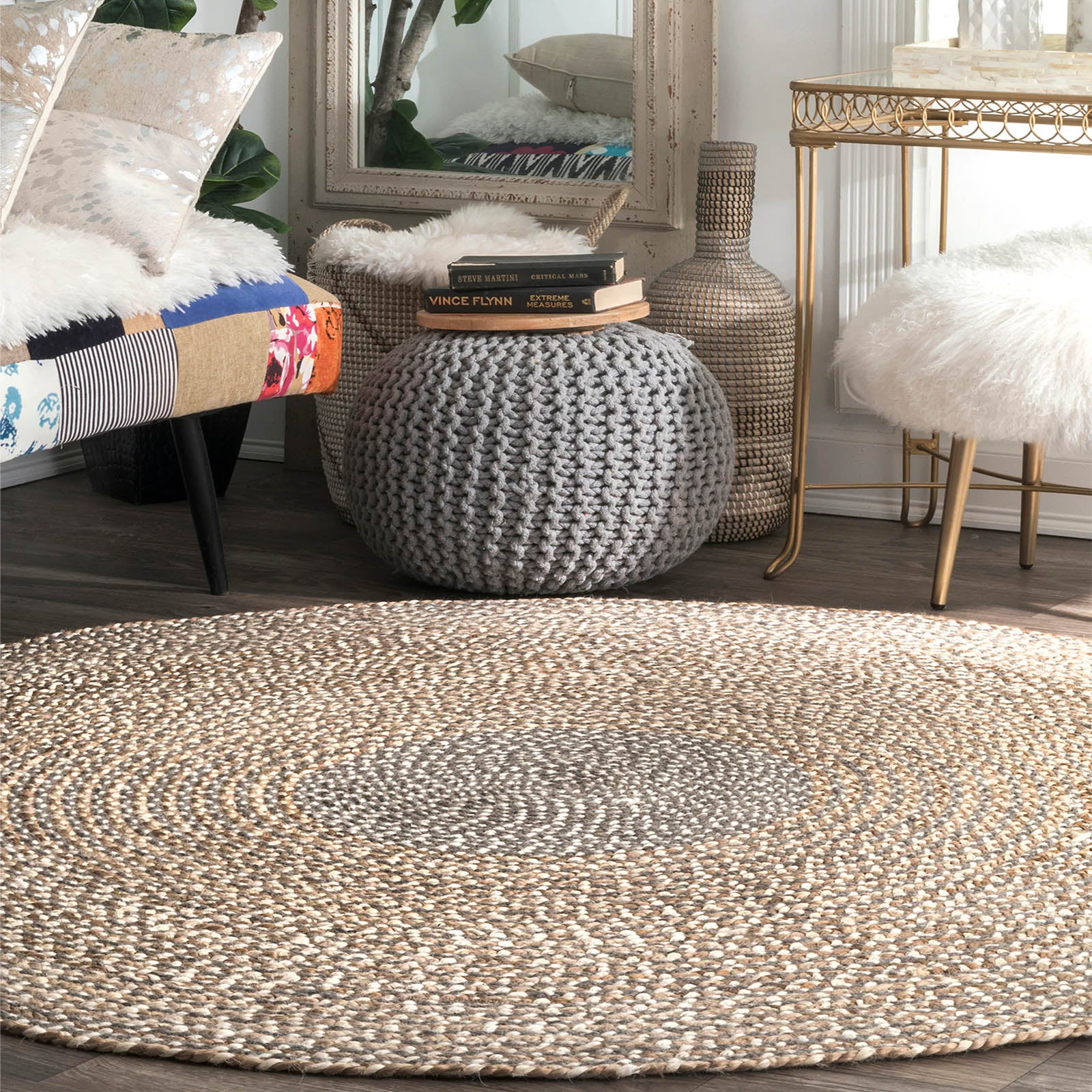 250 CM Braided Round handmade Wool Rug JH-2351-XL
