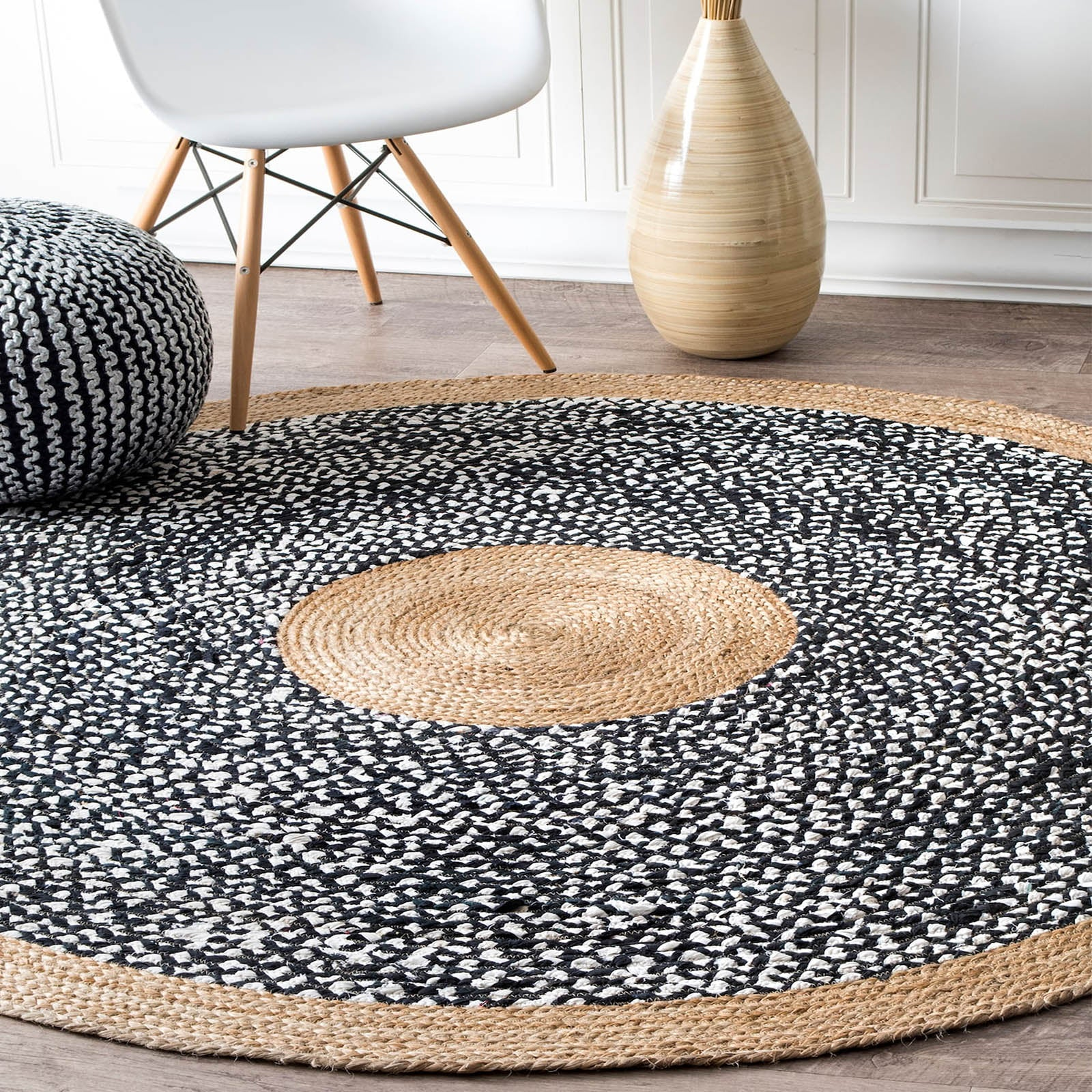150cm Braided Round handmade Wool Rug JH-2350-L -  سجادة صوف دائرية مضفرة مقاس 50 سم - Shop Online Furniture and Home Decor Store in Dubai, UAE at ebarza