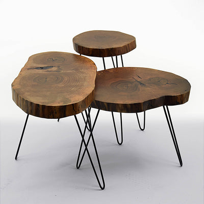 Set of 3 live edge coffee  tables  live -007