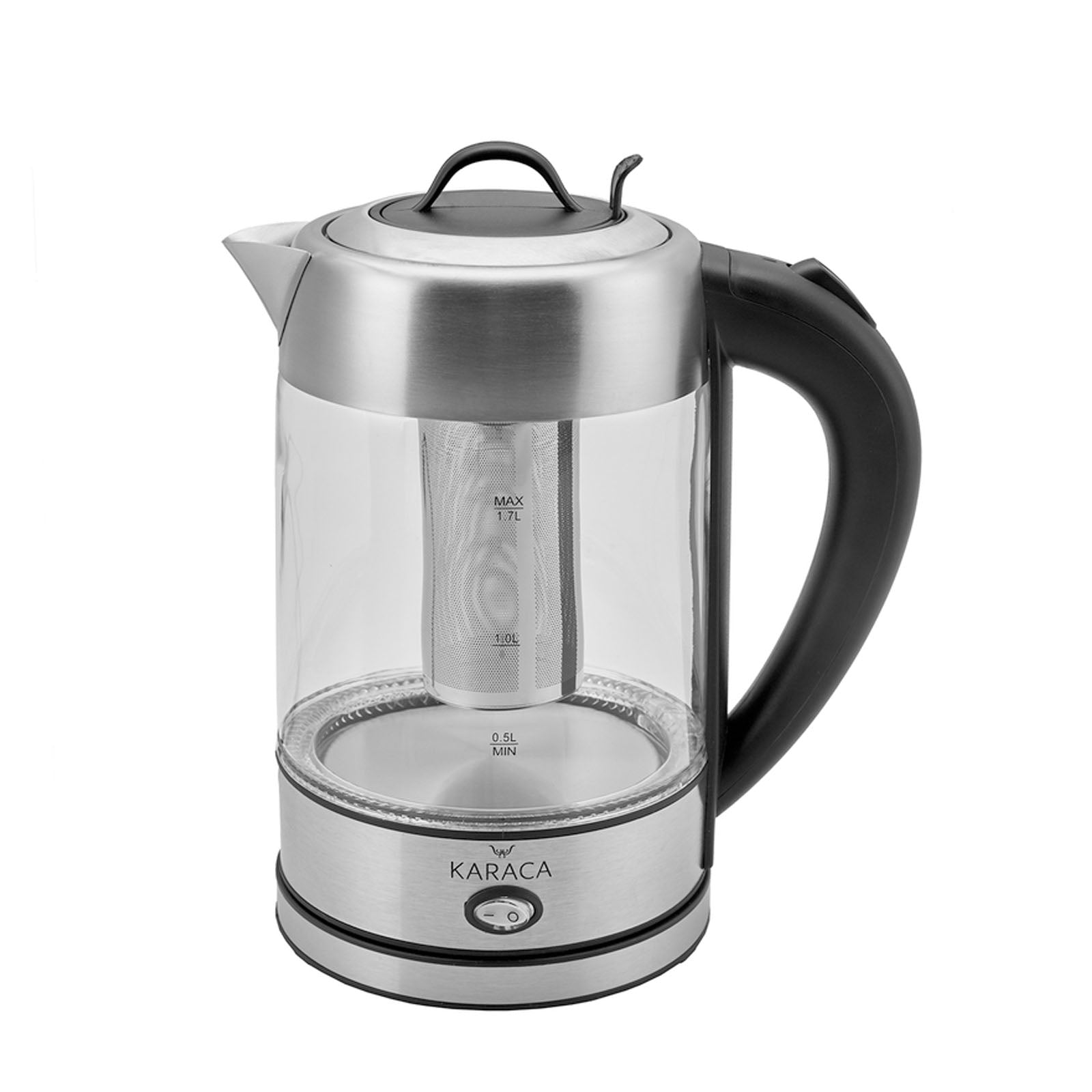 Karaca glass herbal tea maker with LED lighting Inox 2202 153.01.06.4887 - ebarza