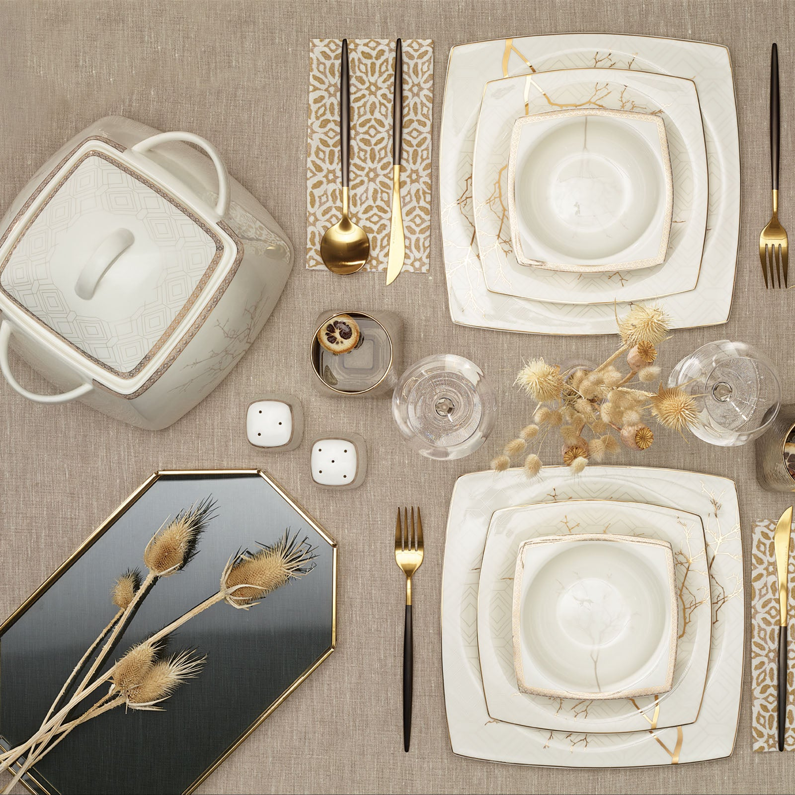 Karaca Autumn Fine Cream 60 Pieces Dinner Set for 12 People Square 153.03.07.6209 - ebarza