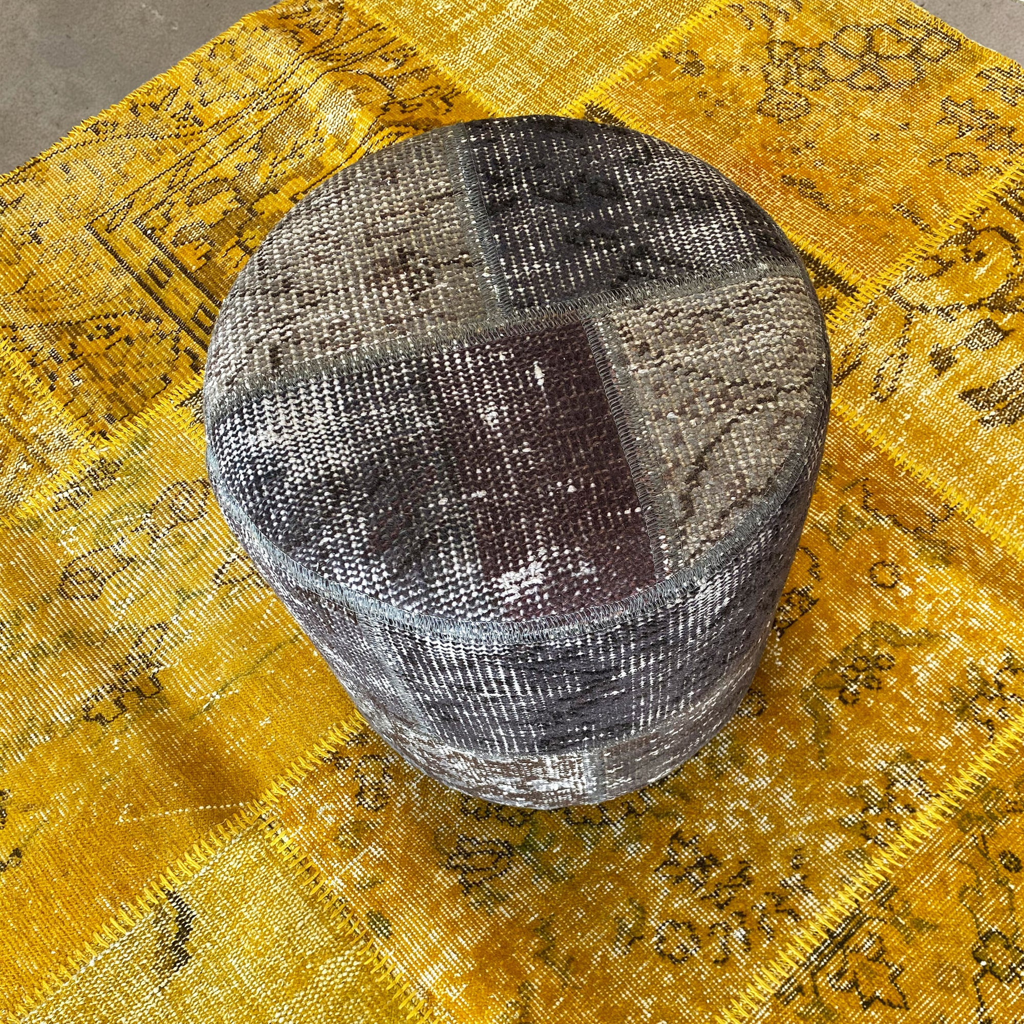HALI X-Bursa Handmade over dyed Pouf GREY001 -  بوف بورصا صناعة يدوية فوق بوف مصبوغ باللون الرمادي - Shop Online Furniture and Home Decor Store in Dubai, UAE at ebarza